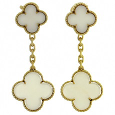 VAN CLEEF & ARPELS Magic Alhambra White Coral 18k Yellow Gold Earrings