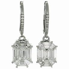 Asscher Style Diamond 18k White Gold Drop Earrings
