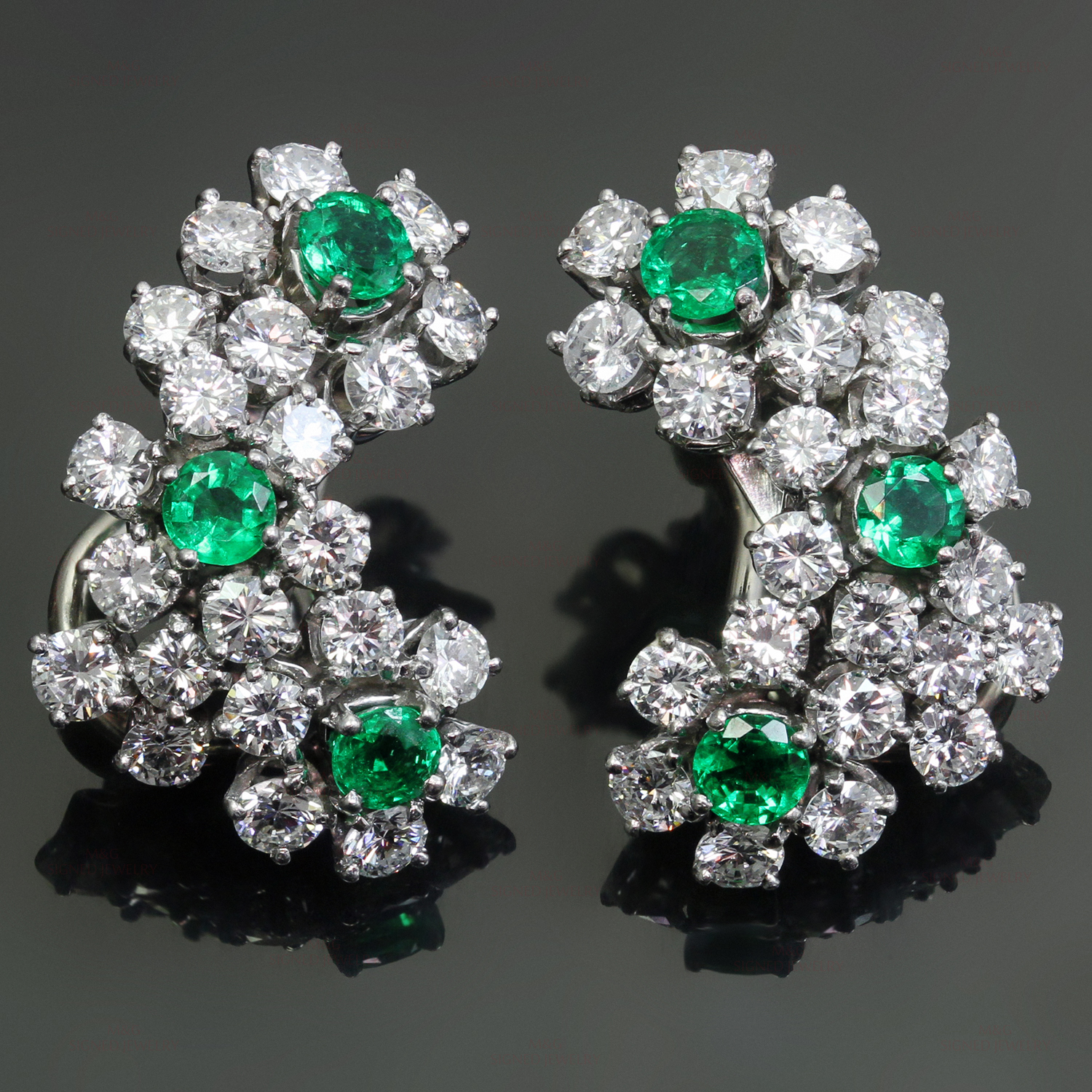 TIFFANY & CO. Diamond Emerald Platinum Clip-on Earrings