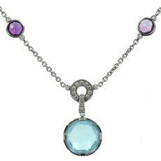 BULGARI Parentesi Cocktail Topaz Amethyst Diamond 18k White Gold Necklace