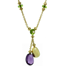 BULGARI Mediterranean Eden Diamond Amethyst Peridot 18k Yellow Gold Necklace