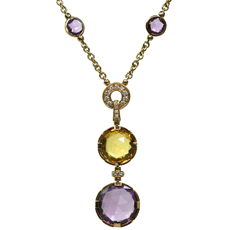 BULGARI Parentesi Amethyst Citrine Diamond 18k Rose Gold Necklace