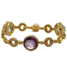 BULGARI Parentesi Amethyst Citrine Prasiolite Diamond 18k Rose Gold Bracelet