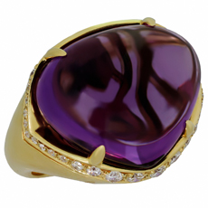 BULGARI Sassi Large Amethyst Diamond 18k Yellow Gold Ring