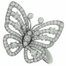 VAN CLEEF & ARPELS Flying Butterfly Between the Finger Diamond 18k White Gold Ring