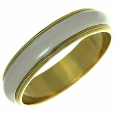TIFFANY & CO. Milgrain Platinum 18k Yellow Gold Wedding Band Ring