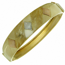 14k Tri-Color Wide Bangle Bracelet