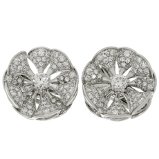 BULGARI Divas' Dream Diamond 18k White Gold Flower Earrings