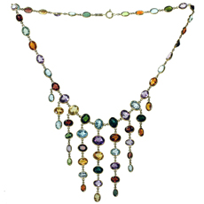 H. STERN Multicolor Gemstone 18k Yellow Gold Chandelier Necklace