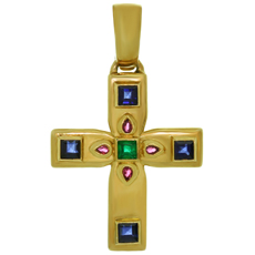 CARTIER Byzantine Multicolor Gemstone 18k Yellow Gold Small Cross Pendant
