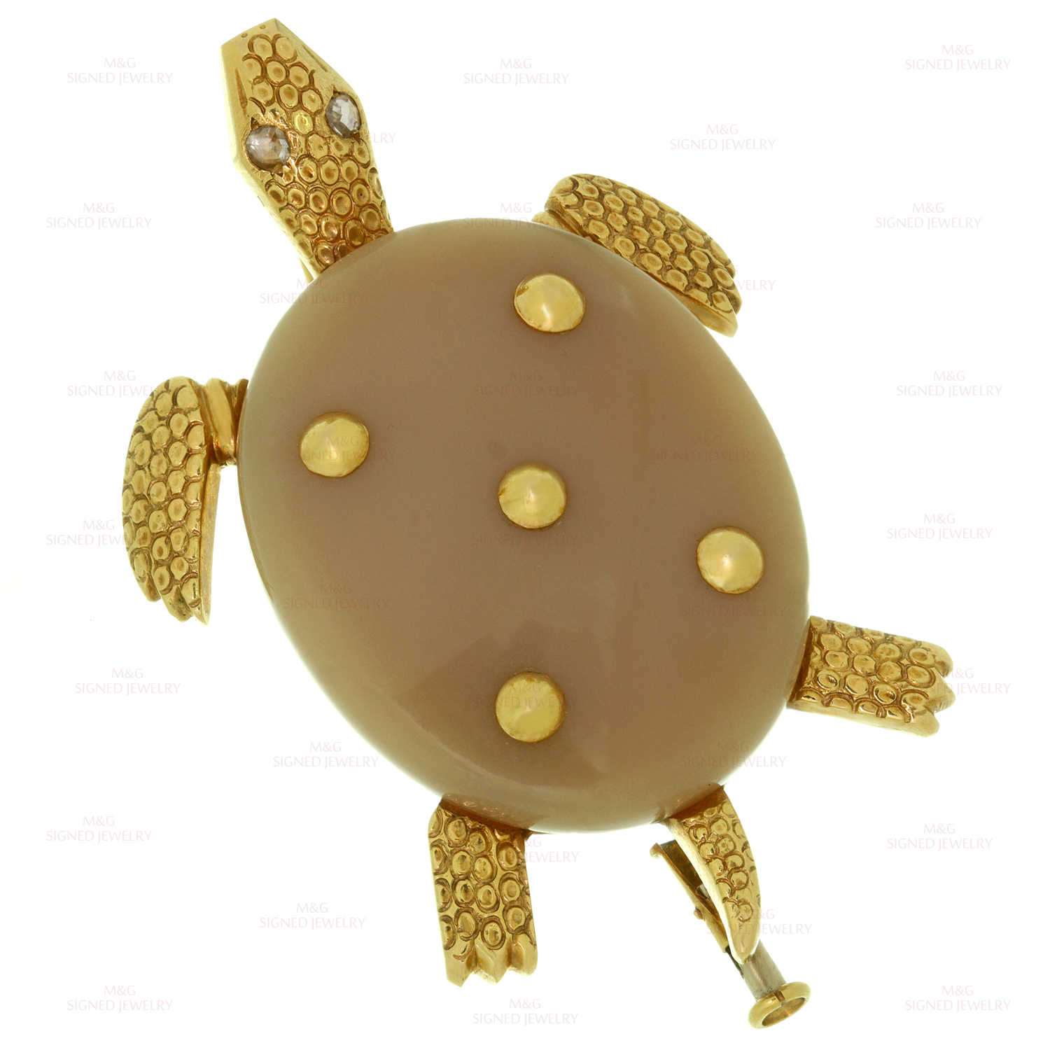 CARTIER Agate Diamond 18k Yellow Gold Turtle Brooch