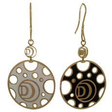 DAMIANI Diamond White & Black Enamel 18k Rose Gold Large Disk French Wire Drop Earrings