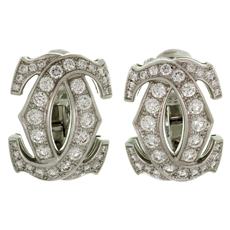 CARTIER Double C Diamond 18k White Gold Earrings