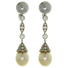 CARTIER Diamond Tahitian & South Sea Pearl Platinum Drop Earrings
