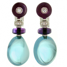BULGARI Sassi Amethyst Topaz Diamond 18k White Gold Earrings