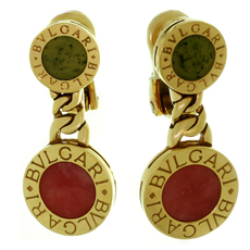 BULGARI Rhodochrosite Jade 18k Yellow Gold Drop Earrings