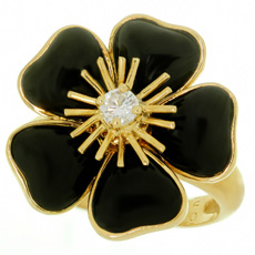 VAN CLEEF & ARPELS Nerval Diamond Onyx 18k Yellow Gold Flower Ring