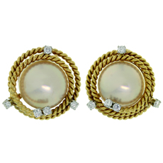 TIFFANY & CO. Schlumberger Mabe Pearl Diamond Platinum 18k Yellow Gold Earrings
