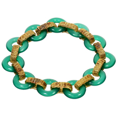 VAN CLEEF & ARPELS Green Chalcedony 18k Yellow Gold Bracelet