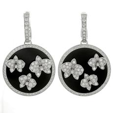 CARTIER Caresse d'Orchidées Diamond Black Onyx 18k White Gold Drop Earrings