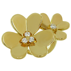 VAN CLEEF & ARPELS Frivole Diamond Gold Between-the-Finger Flower Ring