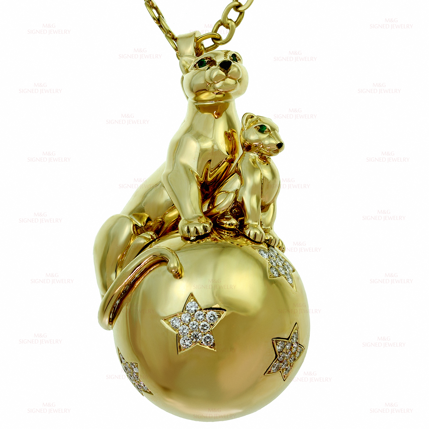 CARTIER Panthere Diamond 18k Yellow Gold Panthers Balloon Pendant Necklace