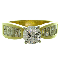 Fancy-Cut Diamond Zircon 18k Yellow Gold Engagement Ring