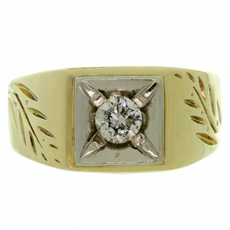 Diamond 14k Two-Tone Gold Hand Engraved Men's Ring