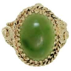 Retro Estate Jade Hand-Made Braided 14k Yellow Gold Cocktail Ring