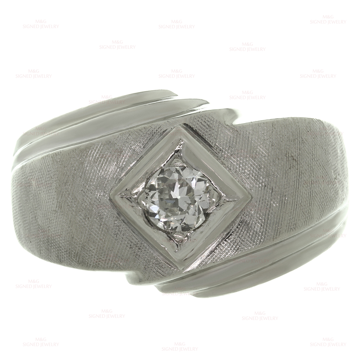 Retro Estate Diamond Brushed 14k White Gold Men's Ring