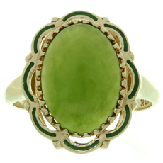 Estate Green Jade Enamel 10k Yellow Gold Cocktail Ring
