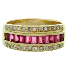 Diamond Baguette-Cut Ruby 14k Yellow Gold Band Ring