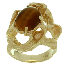 Tiger's Eye 14k Yellow Gold Nugget Ring