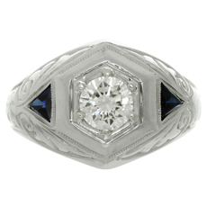 Estate Diamond Blue Sapphire 18k White Gold Men's Ring