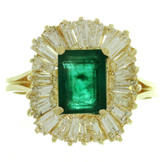 Emerald Baguette Diamond 14k Yellow Gold Ballerina Cocktail Ring