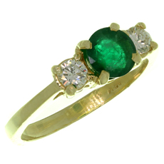 Emerald Diamond 3-Stone 18k Yellow Gold Ring