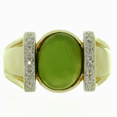 Estate Green Jade Diamond 14k Yellow Gold Ring