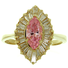 Baguette-Cut Diamond Pink Zircon 14k Yellow Gold Ballerina Ring