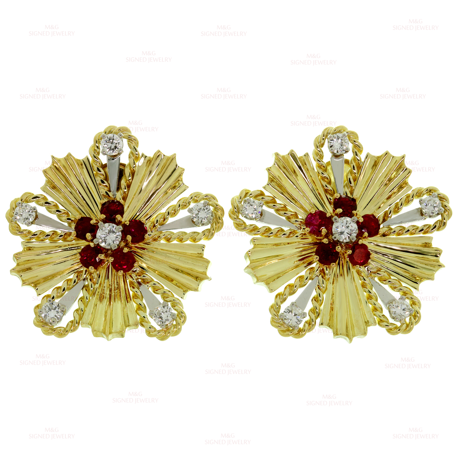 TIFFANY & CO. Ruby Diamond 18k Yellow Gold Starburst 1960s Earrings