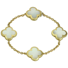 VAN CLEEF & ARPELS Pure Alhambra Mother-of-Pearl 18k Yellow Gold 4 Motif Bracelet
