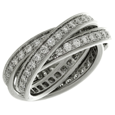 Trinity de CARTIER Diamond 18k White Gold Band Ring Certificate