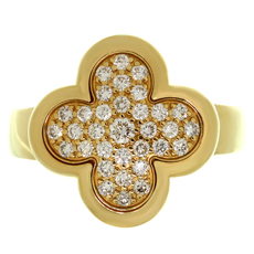VAN CLEEF & ARPELS Pure Alhambra Diamond 18k Yellow Gold Ring