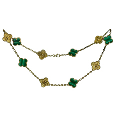 VAN CLEEF & ARPELS Vintage Alhambra Limited Addition Malachite Gold Necklace