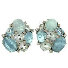 Aquamarine Diamond Seaman Sheps Inspired Bubble Earrings