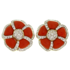 KANARIS Diamond Natural Red Coral 18k Yellow Gold Clip-on Earrings
