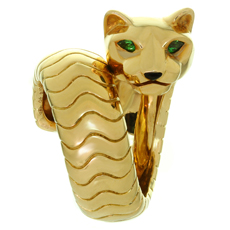 CARTIER Panthere Panther Emerald Onyx 18k Yellow Gold Ring