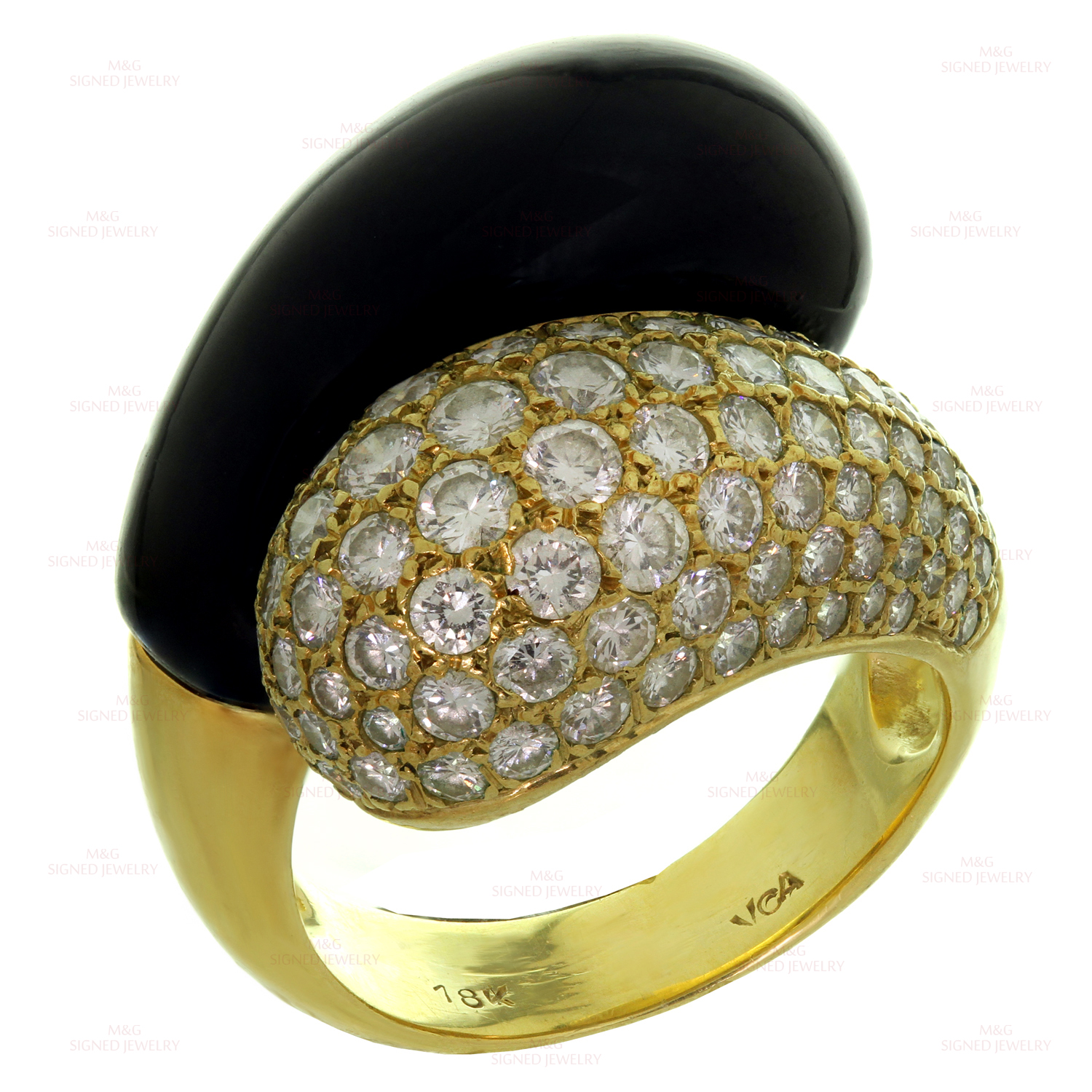 VAN CLEEF & ARPELS Diamond Black Onyx 18k Yellow Gold Ring