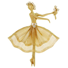 VAN CLEEF & ARPELS Vintage Diamond 18k Yellow Gold Ballerina Brooch