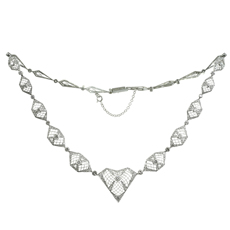 Retro Diamond Filligree Platinum & White Gold Necklace