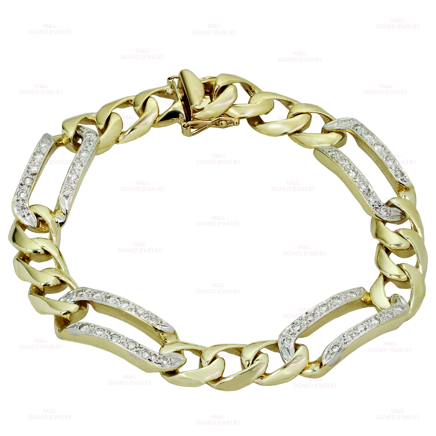 Classic Diamond 14k Yellow Gold Men's Figaro Link Bracelet